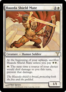 【Foil】《ハズダーの盾兵/Haazda Shield Mate》[DIS] 白R