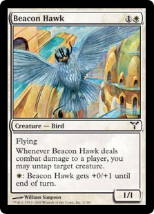 【Foil】《標の鷹/Beacon Hawk》[DIS] 白C
