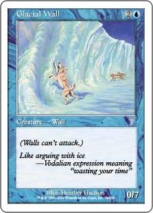 【Foil】《氷河の壁/Glacial Wall》[7ED] 青U