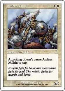 【Foil】《献身的民兵団/Ardent Militia》[7ED] 白U