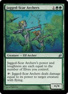 《鋸歯傷の射手/Jagged-Scar Archers》[LRW] 緑U