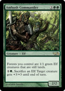 【Foil】《待ち伏せ司令官/Ambush Commander》[EVG] 緑R