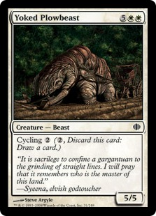 《鋤引きの耕し獣/Yoked Plowbeast》[ALA] 白C