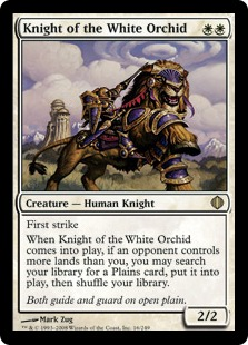 【Foil】《白蘭の騎士/Knight of the White Orchid》[ALA] 白R