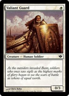 《雄々しい守備兵/Valiant Guard》[CON] 白C