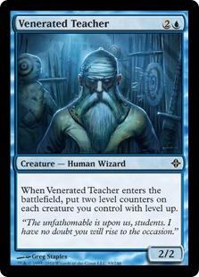 【Foil】《敬慕される教師/Venerated Teacher》[ROE] 青C