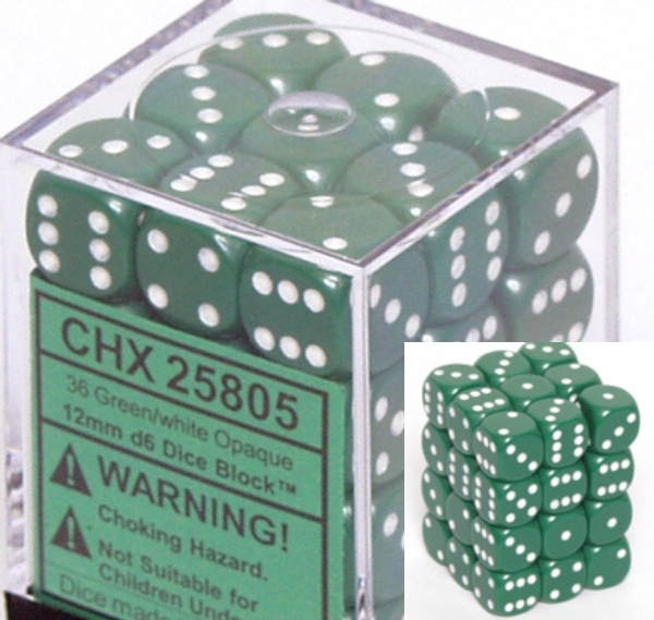 不透明12ミリ6面ダイス(36個入り)Chessex社 Green/white (25805)