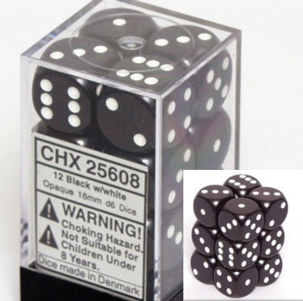不透明16ミリ6面ダイス(12個入り)Chessex社 Black/white (25608)