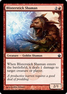 《火膨れ杖のシャーマン/Blisterstick Shaman》[MBS] 赤C