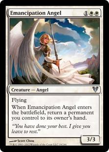 【Foil】《解放の天使/Emancipation Angel》[AVR] 白U