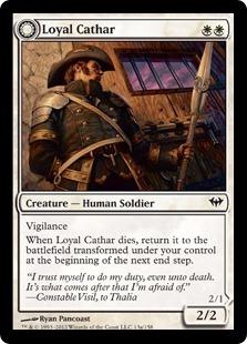 【Foil】《忠実な聖戦士/Loyal Cathar》/《不浄の聖戦士/Unhallowed Cathar》[DKA] 白C