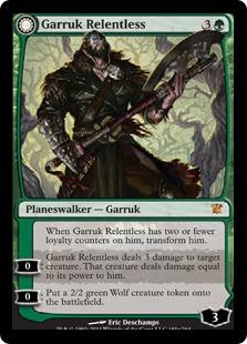 《情け知らずのガラク/Garruk Relentless》/《ヴェールの呪いのガラク/Garruk, the Veil-Cursed》[ISD] 緑R