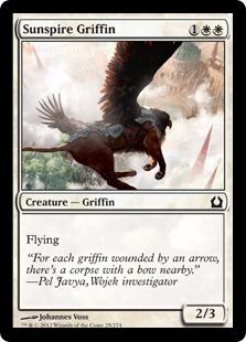 【Foil】《太陽塔のグリフィン/Sunspire Griffin》[RTR] 白C