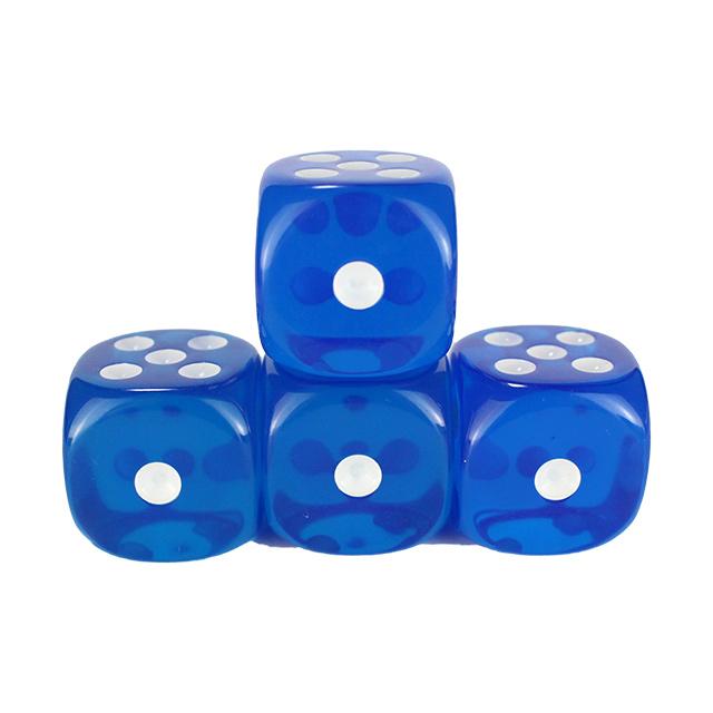 透明25ミリ6面ダイス(ブルー)4個セット