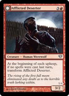 《苦悩の脱走者/Afflicted Deserter》/《狼男の荒らし屋/Werewolf Ransacker》[DKA] 赤U