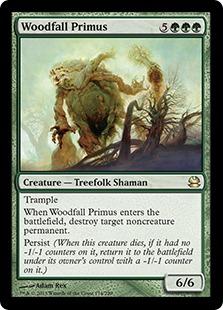 《森滅ぼしの最長老/Woodfall Primus》[MMA] 緑R
