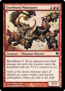 《血まみれ角のミノタウルス/Gorehorn Minotaurs》[HvM] 赤C