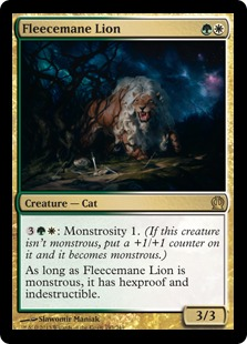 【Foil】《羊毛鬣のライオン/Fleecemane Lion》[THS] 金R