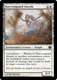 【Foil】《収穫守りのアルセイド/Harvestguard Alseids》[JOU] 白C