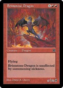 《硫黄のドラゴン/Brimstone Dragon》[PO2] 赤R