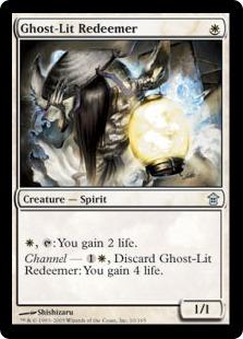 【Foil】《霊光の救出者/Ghost-Lit Redeemer》[SOK] 白U