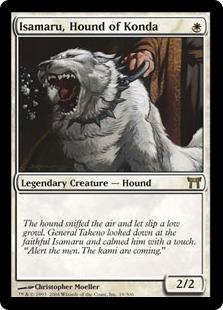 【Foil】《今田家の猟犬、勇丸/Isamaru, Hound of Konda》[CHK] 白R