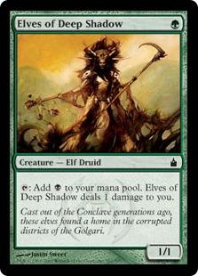 【Foil】《深き闇のエルフ/Elves of Deep Shadow》[RAV] 緑C