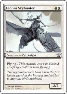 《レオニンの空狩人/Leonin Skyhunter》[9ED] 白U
