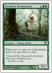 《新緑の女魔術師/Verduran Enchantress》[9ED] 緑R