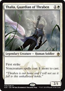 《スレイベンの守護者、サリア/Thalia, Guardian of Thraben》[A25] 白R