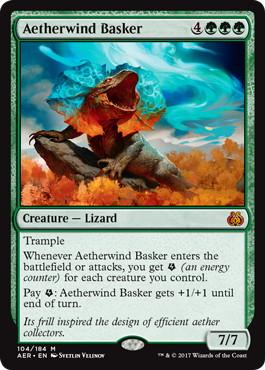 《霊気風浴び/Aetherwind Basker》[AER] 緑R