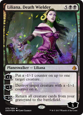 【foil】《死の使い手、リリアナ/Liliana, Death Wielder》[AKH-PW] 黒