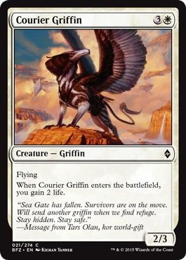 【Foil】《グリフィンの急使/Courier Griffin》[BFZ] 白C