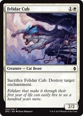 《フェリダーの仔/Felidar Cub》[BFZ] 白C