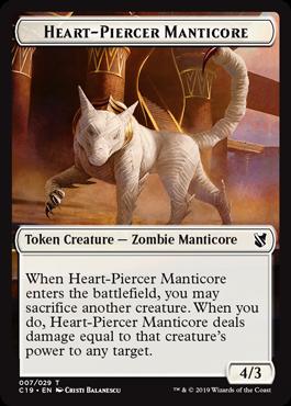 《心臓貫きのマンティコア/Heart-Piercer Manticoreトークン/ドラゴントークン(007/012)》[C19]白/赤