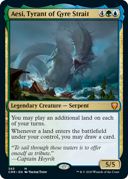 【Foil】《円渦海峡の暴君、アシー/Aesi, Tyrant of Gyre Strait》[CMR] 金R(365)