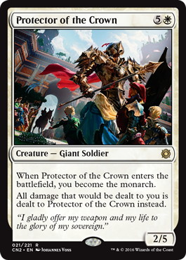 【Foil】《王位の守護者/Protector of the Crown》[CN2] 白R