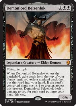 【Foil】《悪魔王ベルゼンロック/Demonlord Belzenlok》[DOM] 黒R