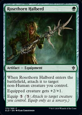 《薔薇棘の矛槍/Rosethorn Halberd》[ELD] 緑C