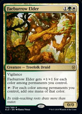《フェイ庄の古老/Faeburrow Elder》[ELD] 金R