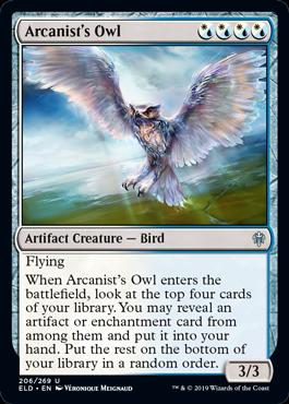 《秘儀術師のフクロウ/Arcanist's Owl》[ELD] 混U