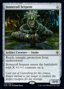 《石とぐろの海蛇/Stonecoil Serpent》[ELD] 茶R