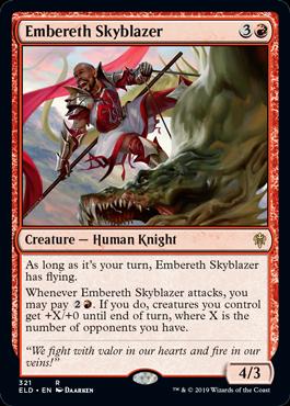《エンバレスの空焼き/Embereth Skyblazer》[ELD-BRAWL] 赤R