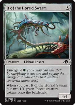 【Foil】《忌まわしい群れの存在/It of the Horrid Swarm》[EMN] 無C