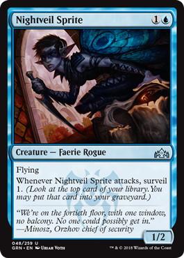 《夜帷のスプライト/Nightveil Sprite》[GRN] 青U