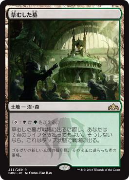 《草むした墓/Overgrown Tomb》[GRN] 土地R