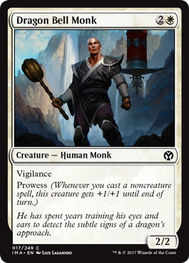 【Foil】《龍鐘の僧兵/Dragon Bell Monk》[IMA] 白C