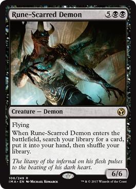 【Foil】《ルーン傷の悪魔/Rune-Scarred Demon》[IMA] 黒R