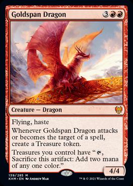 《黄金架のドラゴン/Goldspan Dragon》[KHM] 赤R