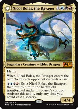 《破滅の龍、ニコル・ボーラス/Nicol Bolas, the Ravager》/《覚醒の龍、ニコル・ボーラス/Nicol Bolas, the Arisen》[M19] 金R